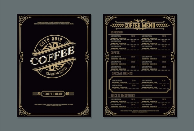 Modelo de menu de cafeteria. estilo vintage