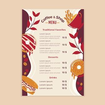 Modelo de menu de cafeteria