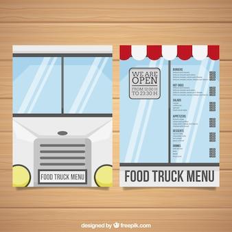 Modelo de menu de caminhão de alimentos com janelas