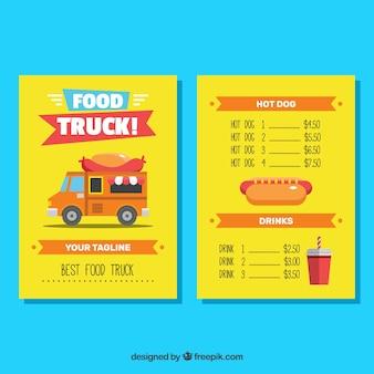 Modelo de menu de caminhão de cachorro-quente divertido