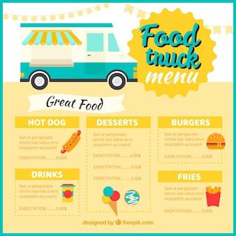 Modelo de menu de caminhão de comida clássica