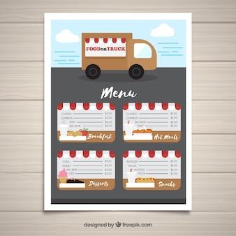 Modelo de menu de caminhão de comida com estilo bonito