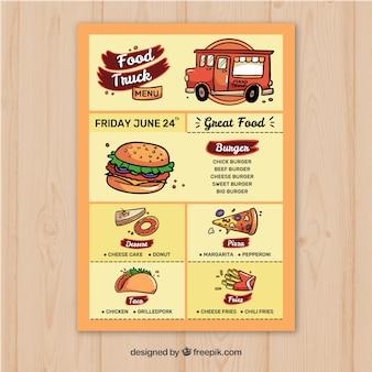Modelo de menu de caminhão de comida com estilo colorido