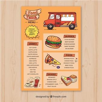 Modelo de menu de caminhão de comida desenhado à mão