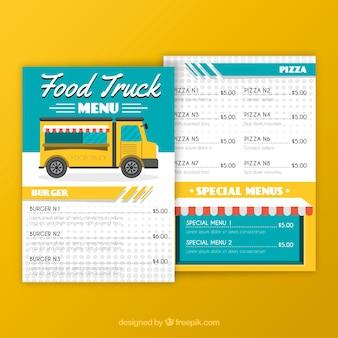 Modelo de menu de caminhão de comida moderna