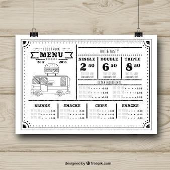 Modelo de menu de caminhão de comida preto e branco