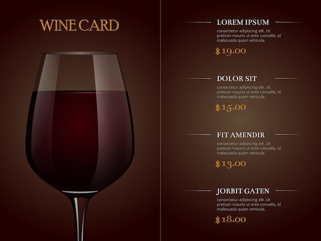 Modelo de menu de cartão de vinho com copo realista de vinho tinto