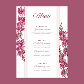 Modelo de menu de casamento de design floral