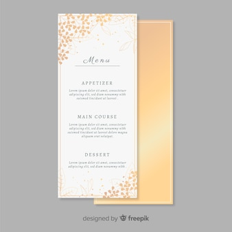 Modelo de menu de casamento dourado