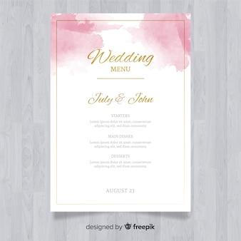 Modelo de menu de casamento elegante em aquarela
