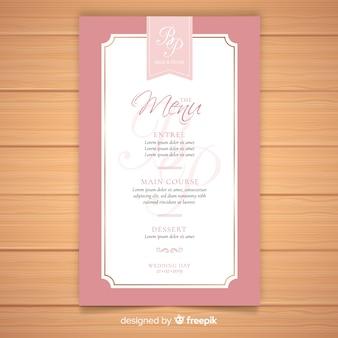 Modelo de menu de casamento elegante