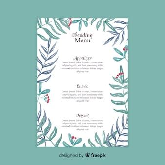 Modelo de menu de casamento estilo aquarela