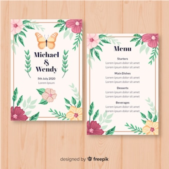 Modelo de menu de casamento floral de mão desenhada