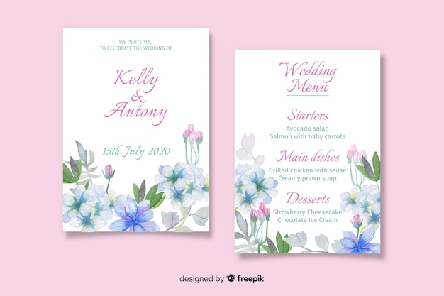 Modelo de menu de casamento floral em aquarela