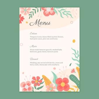 Modelo de menu de casamento floral