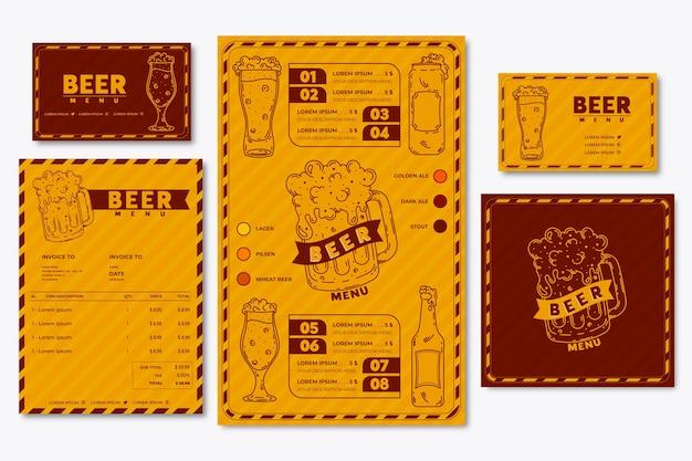 Modelo de menu de cerveja e cartão de visita