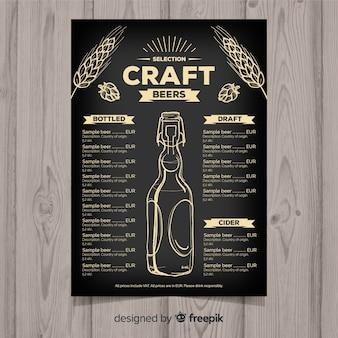 Modelo de menu de cervejas artesanais de mão desenhada