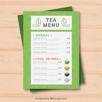 Modelo de menu de chá com bebidas