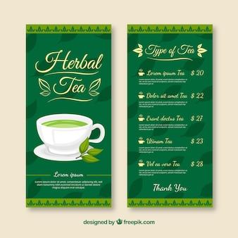 Modelo de menu de chá com design plano