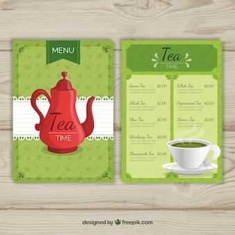 Modelo de menu de chá com diferentes tipos de bebida