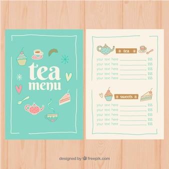 Modelo de menu de chá com diferentes tipos de chá
