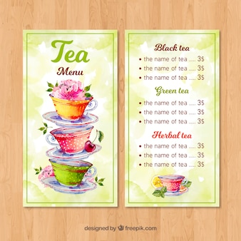 Modelo de menu de chá com estilo aquarela