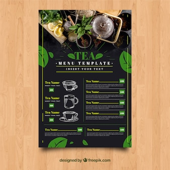Modelo de menu de chá com folhas