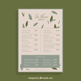 Modelo de menu de chá com lista de bebidas