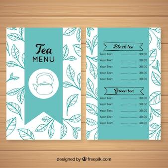 Modelo de menu de chá com sabores diferentes
