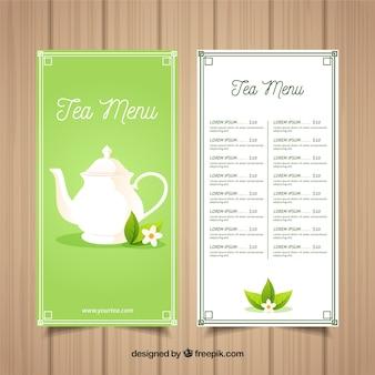 Modelo de menu de chá elegante com design plano