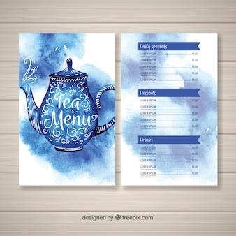 Modelo de menu de chá em aquarela