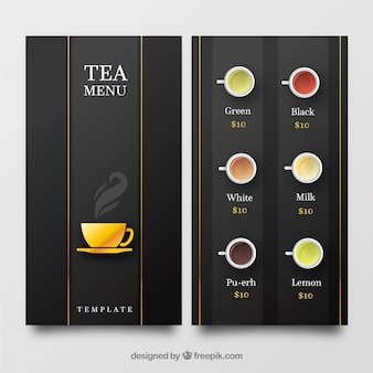 Modelo de menu de chá em estilo simples