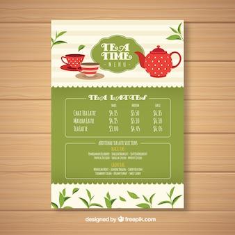 Modelo de menu de chá para lista de bebidas