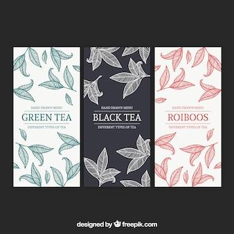Modelo de menu de chá para salão de chá