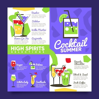 Modelo de menu de cocktails design plano