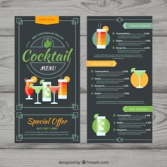 Modelo de menu de cocktails em estilo plano