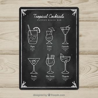Modelo de menu de cocktails em estilo quadro-negro