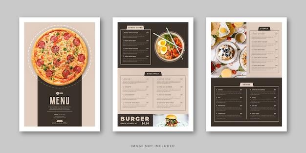 Modelo de menu de comida clássico de restaurante e café com tampa