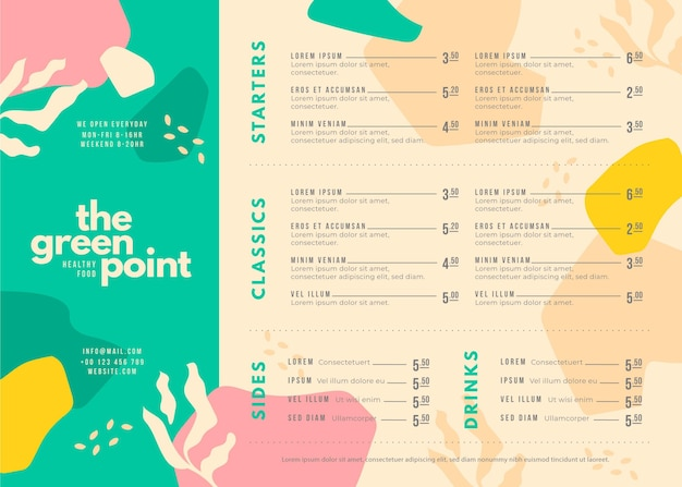 Modelo de menu de comida criativa para uso digital