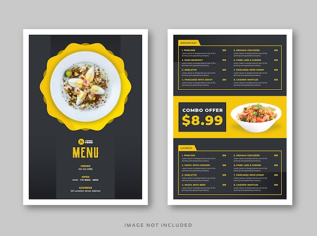Modelo de menu de comida de restaurante café com tampa