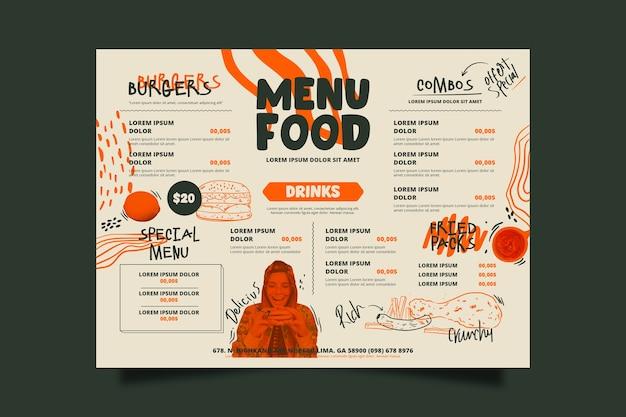 Modelo de menu de comida de restaurante especial