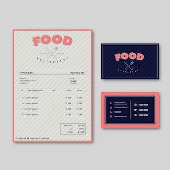Modelo de menu de comida de restaurante