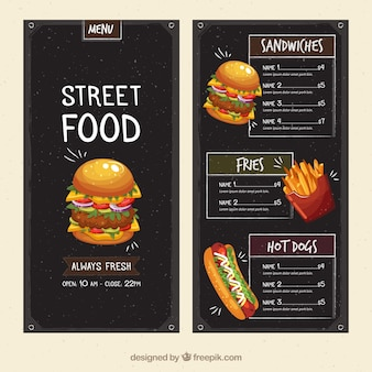 Modelo de menu de comida de rua