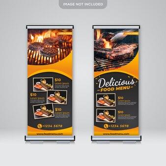 Modelo de menu de comida deliciosa de banner roll up standee
