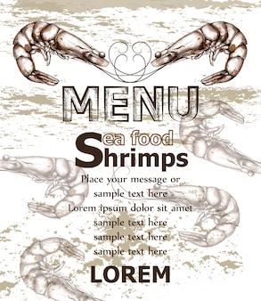 Modelo de menu de comida do mar camarões