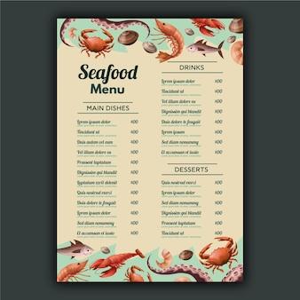 Modelo de menu de comida do mar