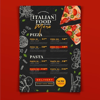 Modelo de menu de comida italiana desenhado à mão