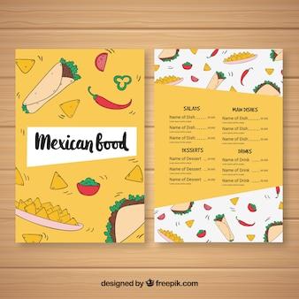 Modelo de menu de comida mexicana criativa
