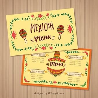 Modelo de menu de comida mexicana moderna
