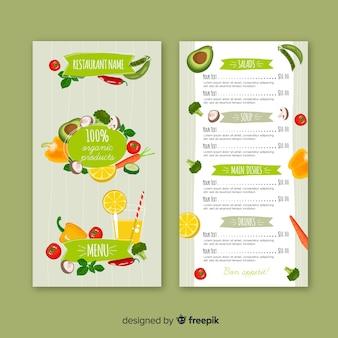 Modelo de menu de comida natural